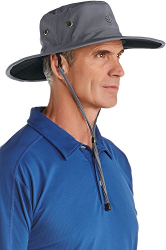 Adjustable Performance Visor - Coolibar UPF 50+ Men's Shapeable Wide Brim Hat - Sun Protective (Large/X-Large- Carbon/Black)