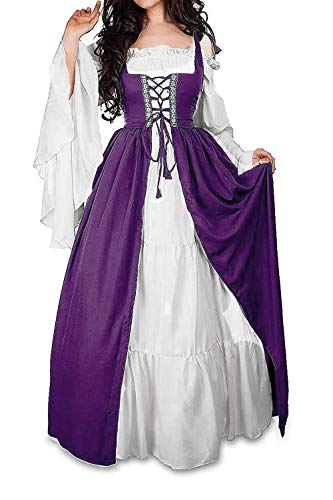 Abaowedding Womens's Medieval Renaissance Costume Cosplay Chemise and Over Dress 2X-large/3X-Large Plum and Ivory]()