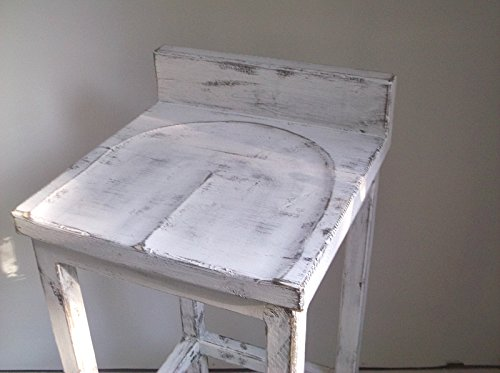 Distressed Farmhouse Style White Low Back Solid Wood Dining Chairs 18u0026quot;  ...