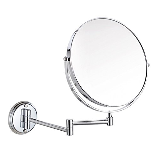 Makeup mirror double-sided wall makeup mirrors bathroom retractable folding mirror bathroom beauty mirror (Color : Silver, Size : 15cm(6 inches))