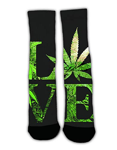 RWFANCY Unisex Love Marijuana Weed Leaf Crew Casual Socks Slipper Socks Stockings Colorful Warm Winter Socks for Christmas Holiday New Year