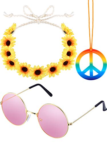 3 Pieces Hippie Costume Set Includes 1 Piece Rainbow Peace Sign Necklace, 1 Piece Flower Crown Headband and 1 Pair of Hippie Sunglasses -