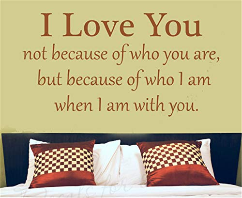 uamser Wall Stickers Design Art Words Sayings Removable Lettering I Love You Not Because of Who You are for Bedroom (Best Minecraft Creation Maps)