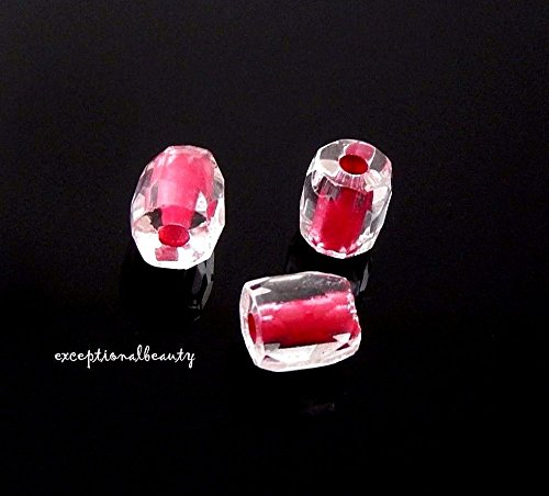 50 Preciosa Ornelka Russian Faceted Czech Glass Fuchsia Red Color Lined Beads