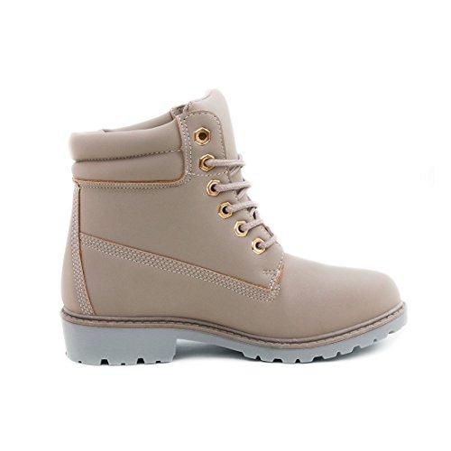 Trendige Damen Kinder Schnür Stiefeletten Stiefel Worker Boots in Lederoptik Grau