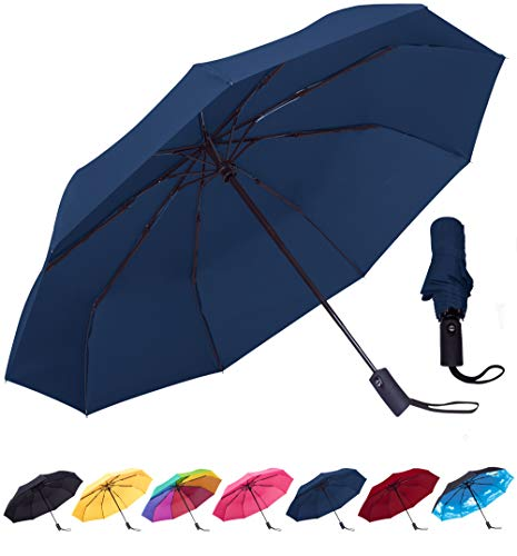 Rain-Mate Compact Travel Umbrella - Windproof, Reinforced Canopy, Ergonomic Handle, Auto Open/Close (Navy ()