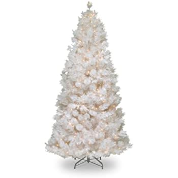 national tree 75 foot wispy willow grande white slim tree with silver glitter and 500 velvet - Christmas Tree White Lights