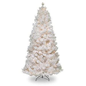 National Tree 7.5 Foot Wispy Willow Grande White Slim Tree with Silver Glitter and 500 Velvet Frost White Lights, Hinged (WOGW1-304-75) 67