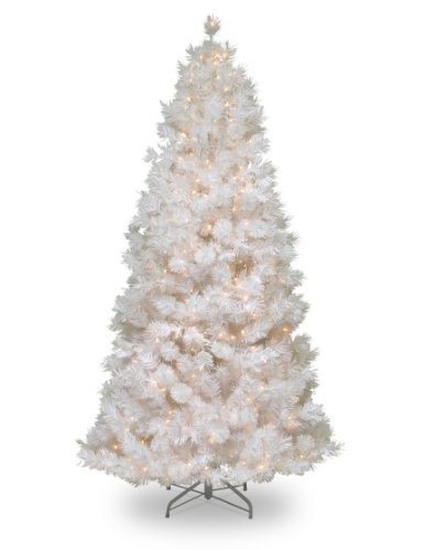 National Tree 7.5 Foot Wispy Willow Grande White Slim Tree with Silver Glitter and 500 Velvet Frost White Lights, Hinged (WOGW1-304-75)