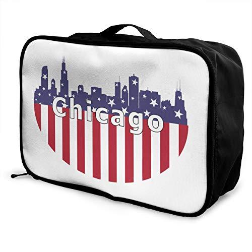 Chicago City Flag Skyline USA Lightweight Large Capacity Portable Luggage Bag Fashion Travel Duffel Bag