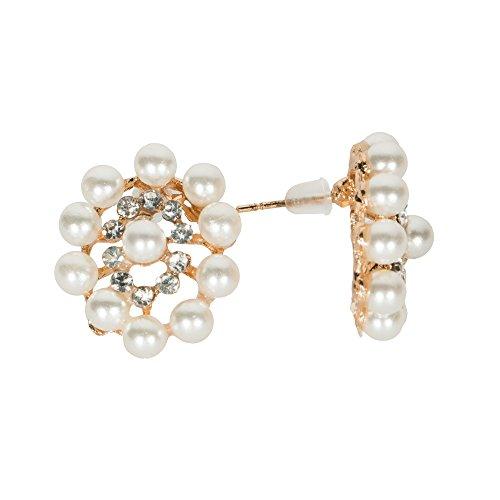 Elegant White Goldtone Oval Earrings Faux Pearls Rhinestones Chic Jewelry (Oval Faux Pearl)