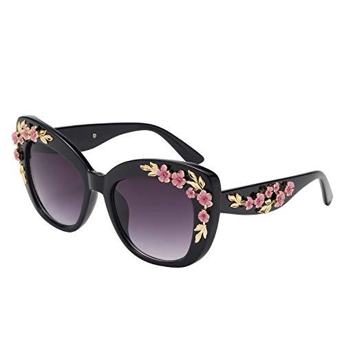 LianSan Cat Eye UV Protection Vintage Engraving Peach Plum Blossom Floral Flower Sunglasses for Women 12210 ()