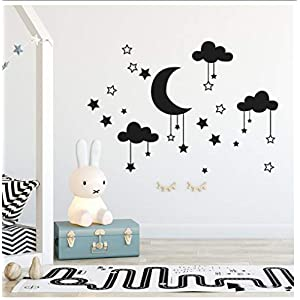 Buzdao Wall Decal Baby Nursery Room Cloud,Stars and Moon Wall Sticker Art Home Decor Mural Clouds Nursery Children Bedroom Decor Sticke 57X28Cm