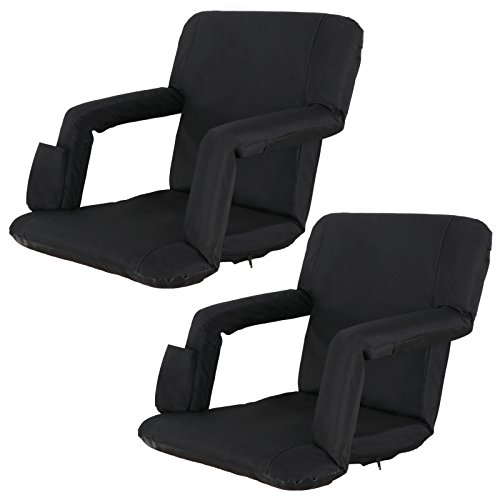 ZENY Set of 2 Portable Extra Wide Stadium Seat Chair for Bleachers or Benches,Folding Reclining Seat Black Bleachers 5 Positions,Padded Cushion Backs and Armrest Support and Bottle Pocket ()