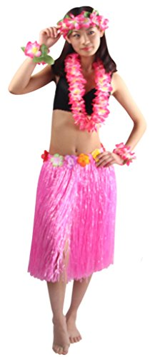(Good Quality 5pcs/set Adult Hawaiian Luau 60cm pink grass hula skirt)