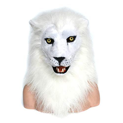 Realistic Animal mask Handmade Custom Simulation Animal Lion Mask Moving Mouth Mask for Halloween and Party Fu (Color : White)]()