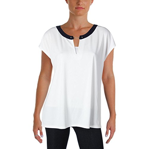 s Polyester Short Sleeves Knit Top White L ()