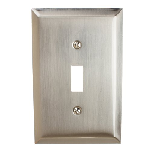 GlideRite Hardware Toggle Switch Wall Plate Cover – Steel 1-Gang Electrical Plug Decorative Wallplate Cover with Classic Beveled Design Receptacle (Single Toggle, Brushed Nickel finish) - Brushed Nickel Finish Plug