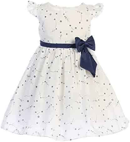 367e09ab0d9 Swea Pea   Lilli Baby Girls White Navy Ribbon Bow Cotton Flower Girl Dress  3-