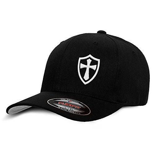 Black Baseball Flex Fit Hat (Dion Wear Crusader Knights Templar Cross Baseball Hat Large/X-Large White On Black)