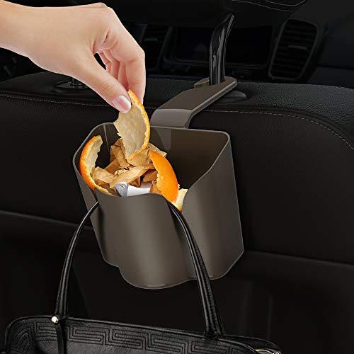 Universal Multi Functions Trash Can Car Cup Holder Drink Bottle Mug Headrest Seat Back Organizer Clip-on Mount (Brown)