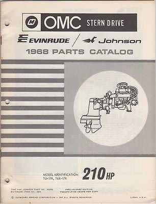 1968 OMC EVINRUDE STERN DRIVE 210HP PARTS - Drive Omc Stern 1968