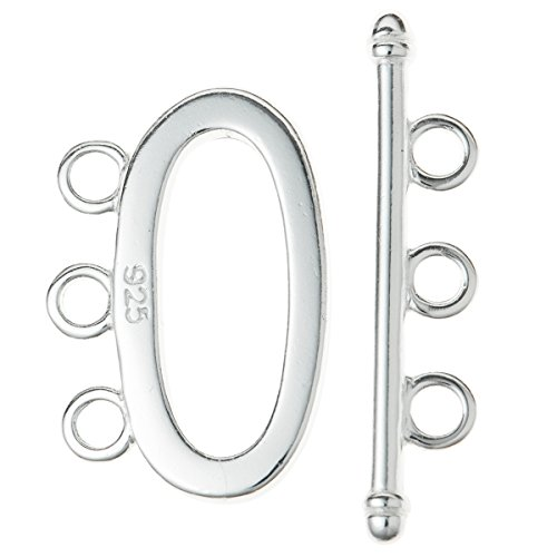 1 Set .925 Sterling Silver Oval Toggle 3 Strand Clasp/Findings/Bright