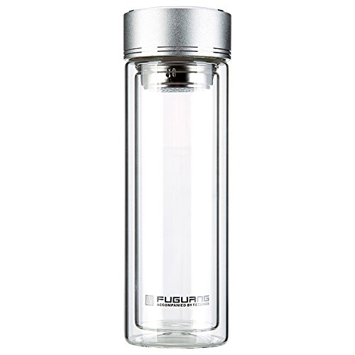 FUGUANG GP1420-350 Silver Lid Mugs Water Bottle Double Wall Glass Tumbler Classical Chinese Tea Cup Portable Transparent Mug 350Ml Silver