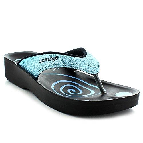 Aerosoft Bleu Sandales Pour Sandales Aerosoft Femme fdxx1Tw