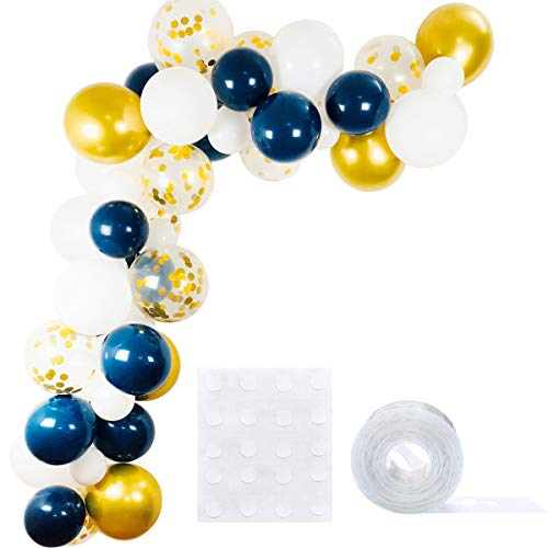Navy Blue Gold White Balloons 52 Pack, 12inch 5inch White Latex Balloons 10inch Navy blue balloon 12inch Metallic Gold and Gold Confetti Balloon Balloons Strip Set for Baby Shower Birthday Party Decor ()