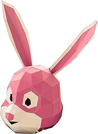 Maxleaf Paper Mask colorful, Máscara de conejo DIY (Pink)