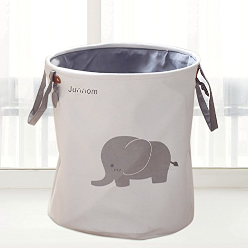 Storage Baskets, Junnom Collapsible & Convenient Laundry Bin / laundry Basket / Laundry Hamper / Storage Solution for Office, Bedroom, Clothes, Toys - Super Cute Gray Elephant - Baby Clothes Hamper