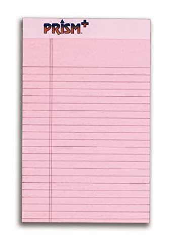 TOPS Prism Plus 100% Recycled Legal Pad, 5 x 8 Inches, Perforated, Pink, Narrow Rule, 50 Sheets per Pad, 12 Pads per Pack - Recycled Paper Pads