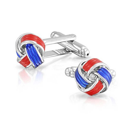 Red Plated Cufflinks - Bling Jewelry Stainless Steel Plated Mens Red and Blue Enamel Love Knot Cufflinks