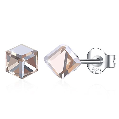 - Kalapure Sterling Silver Stud Earrings, 4MM ''Magic Cube'' Earrings with Swarovski Crystals Graduation Gift For Women Girls (C)