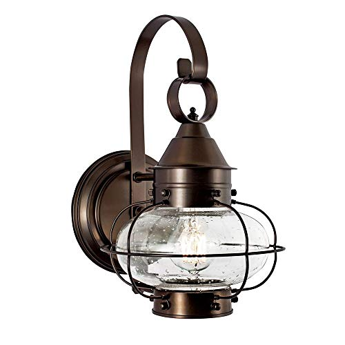 - Norwell Lighting 1323-BR-SE Cottage Onion - One Light Outdoor Small Wall Lantern, Bronze Finish with Seedy Glass