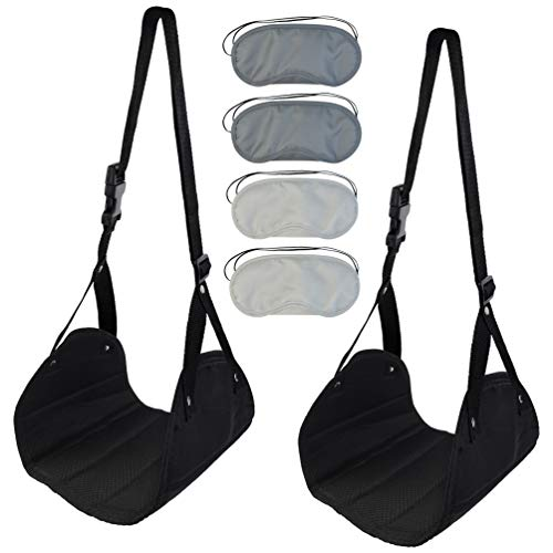 KKTOP 2 Packs Travel Footrests Foot Hanger Leg Hammock with 4 Pcs Eyemask Cover for Airplane, Train, Black ()
