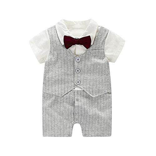 Baby Boy Gentlemans Tuxedo, Jumpsuit, Short Sleeves With Bowtie (Grey, Medium)