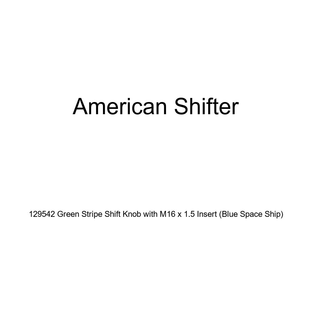 American Shifter 129542 Green Stripe Shift Knob with M16 x 1.5 Insert Blue Space Ship