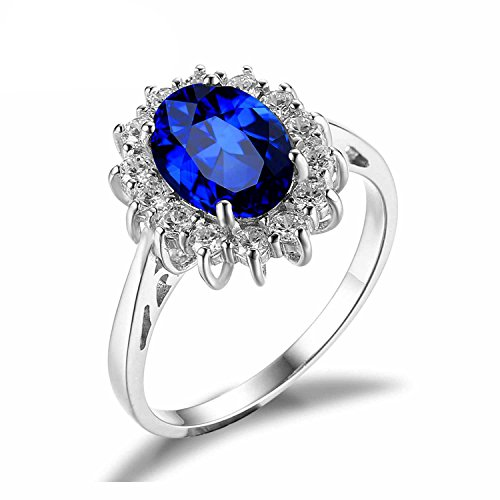 Kate And William Costume (PSRINGS Rings Princess Diana William Kate Middleton's 3.2ct Created Blue Sapphire Engagement 925 Sterling Silver 8.0)
