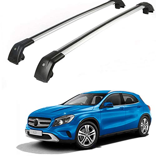 MotorFansClub Fit for Mercedes Benz GLA 2014-2019 Lockable Baggage Luggage Rack Roof Racks Rail Cross Bar Crossbar - Silver (Roof Mercedes Benz)
