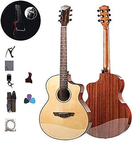 Guitarra eléctrica Guitarra acústica guitarra acústica kits de principiante con caja de la guitarra, correa, afinador, Pick, Cuerda de Acero portátil acorde de la guitarra Práctica herramienta Spruce