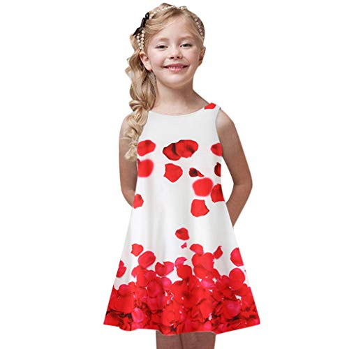 - Baby Girl's Princess Party Dresses Sveless Floral Print Loose Casual Holiday Long Maxi Dress Kids 4-9 Years Red