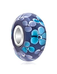 Charmed Craft Murano Glass 925 Sterling Silver Core Flower Charms Bead Fits European Bracelets