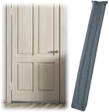 Relaxdays Tochtstopper voor deuren dubbelzijdig deurrol tegen tocht en kou stof tochtstopper 90 cm lang grijs