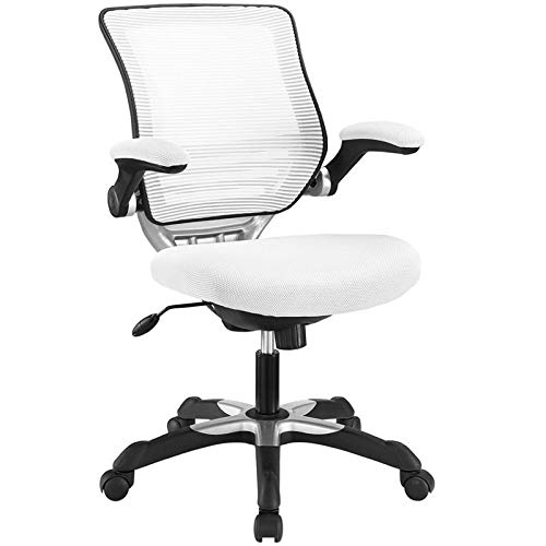 Modway Edge Mesh Back and Mesh Seat Office Chair In Black With Flip-Up Arms in White