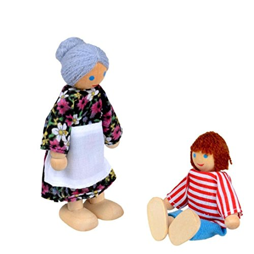 7 Piece Poseable Wooden Doll Family Pretend Play Mini