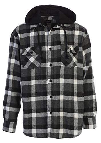 Hood Clothing White (Gioberti Men's Removable Hood Plaid Flannel Shirt, Black/Gray/White Highlight, Large)