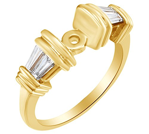 - Baguette Cut White Natural Accent Diamond Semi Mount Engagement Ring In 14k Yellow Gold (0.63 cttw) Ring Size-6.5
