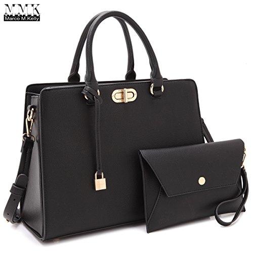 Women Handbags & Purse Ladies Designer Satchel Handbag Tote Purse Shoulder Bags~1988 Women Classic Satchel handbag in spring colors Perfect Briefcase purse & wallet set for women (FN-23-7581-BLACK) Black Classic Handbag